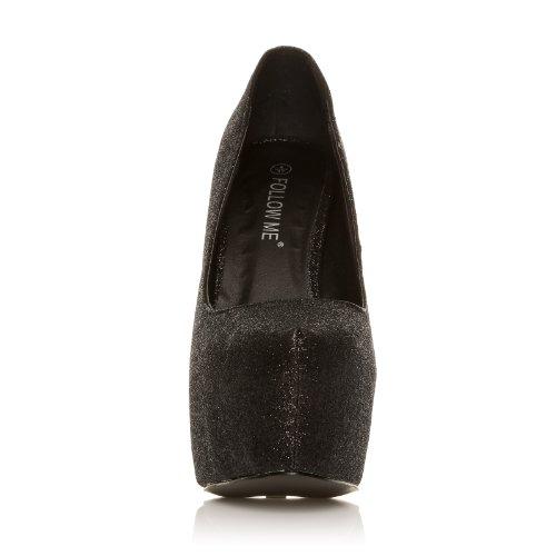 ShuWish UK - Escarpin Talon Aiguille Noir Paillettes Noir paillettes