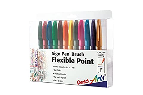 Pentel Connectez-vous Pen Brush Tip 12-Pack Assorted Co