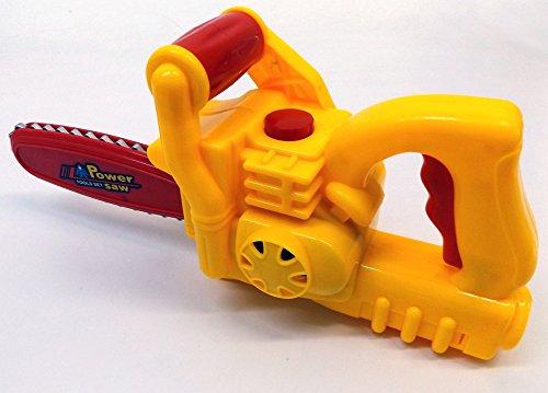 Brigamo 505 – Kinderwerkzeug Set mit funktionierender Kettensäge und Bohrhammer + Bauarbeiter Helm - 2