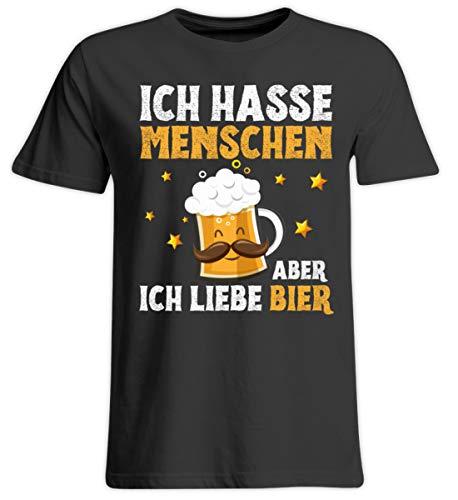PlimPlom Ich Hasse Menschen Aber Ich Liebe Bier Alkohol Party Spruch - Übergrößenshirt -3XL-Tief Schwarz -