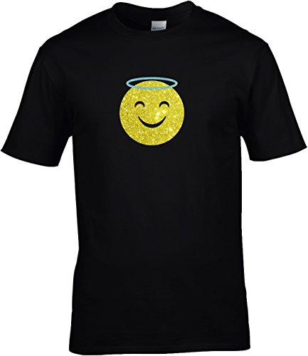 Kostüm Engel Gruppe - Shirt Karneval Herren Gruppen GLITZERDRUCK Fasching Junggesellenabschied Emoji Kostüm Emoticon Smiley Engel Engelchen Heiligenschein Angel, 5XL