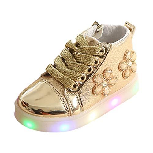 BoyYang Kinder Stiefel Schuhe LED Licht Sequin Babyschuhe Krabbelschuhe Turnschuhe Lauflernschuhe Sneaker Weiche Sohle Lederschuhe Erste Kinderschuhe Kleinkind für Mädchen Jungen (30,Gold)