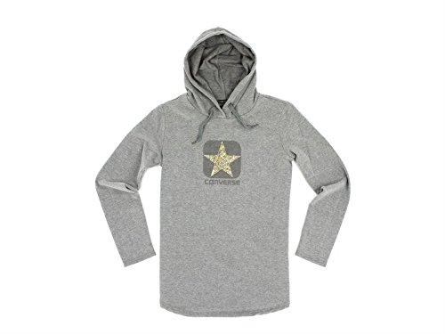 Converse, Donna, Fleece Sweater Logo Lady Classic Hood Studs, Cotone, Felpe, Grigio, M EU