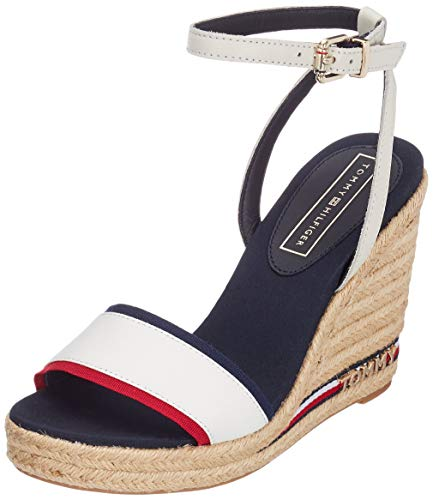 Tommy Hilfiger Damen Iconic Elena Corporate Ribbon Plateausandalen, Rot (RWB 020), 39 EU