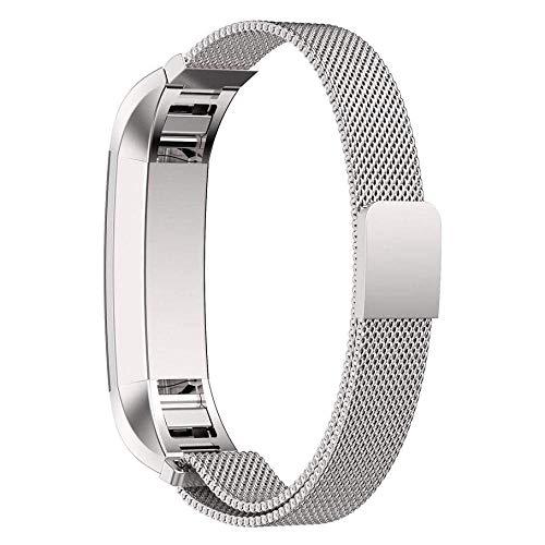 ICHQ Fitbit Alta Armband Magnetic Milanese Wrist Band verstellbares Edelstahl-Ersatz-Armband für Fitbit Alta und Alta HR Watch (Silber)