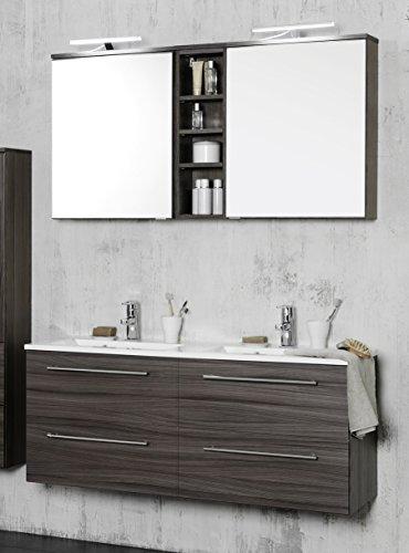 Waschtisch 120 inkl Doppel-Waschbecken Mailand von Held Möbel Eiche dunkel by Wohnorama