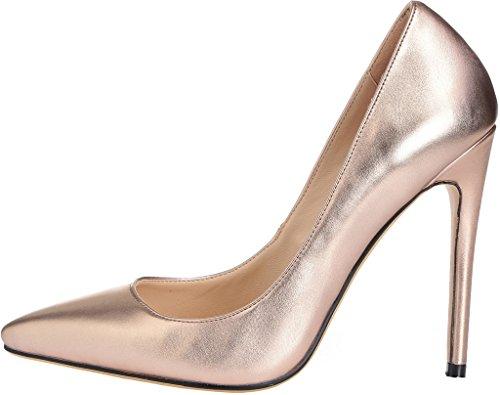 f0d374edada1de Calaier Damen Caelse 12CM Blockabsatz Schlüpfen Pumps Schuhe Gold ...