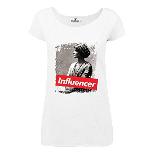 KiarenzaFD Damen Influencer Coco Fashion Chanel Star Legend Longshirt, KTLD00005-XL-white, weiß, XL -