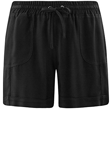oodji Collection Damen Viskose-Shorts mit Bindebändern Schwarz (2900N)
