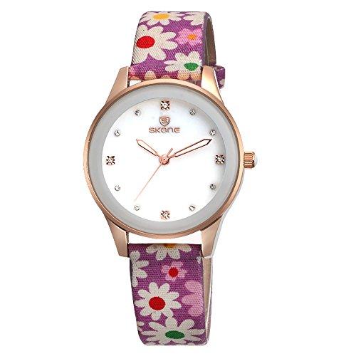 Damenuhren PU Strap Calico Diamond Quarz Uhr Runde wasserdichte Uhr In Voller Länge 226 Mm,Purple (Voller Länge, In Mädchen Für Spiegel)
