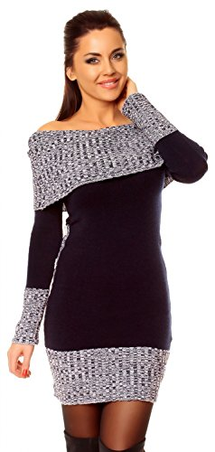Zeta Ville - Damen Pullover aus Grobstrick Carmen-Ausschnitt Strick-kleid - 913z (Marine, 38/42)