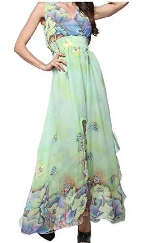 Gocgt Girl's V-Neck Sleeveless Print Chiffon Dresses