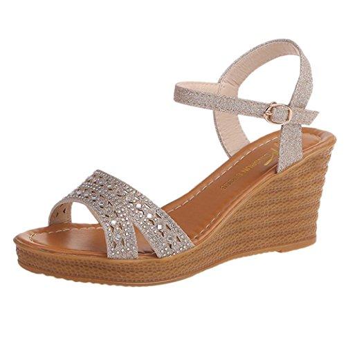 657f9df0f027d SANFASHION Femmes Sandales Compensées Femme Chaussures Strass Brillant  Tongs d été Casual Peep Toe Platform