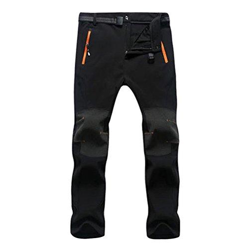 Zhhlaixing Herren Hosen Men's Winter Warm Thick with Zipper Pockets Hiking Camping Climbing Soft Shell Waterproof Windproof Fleece Wear-resisting Breathable Windbreaker Pants Trousers Sportswear