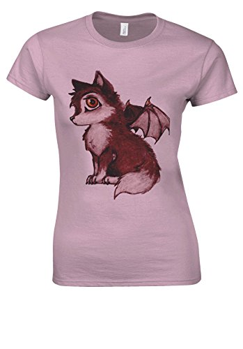 Cute Baby Wolves With Wings Tumblr Novelty Light Pink Women T Shirt Top-XXL (Wings Top Pink T-shirt)