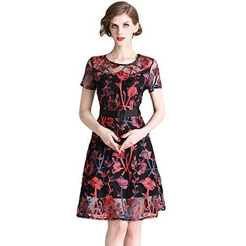 QUNLIANYI Kleid Spitze Frauen Floral Stickerei Kleid Schiere Mesh Kurzarm O-Ausschnitt See-Through Knie Länge A-Linie Kleid L Burgund