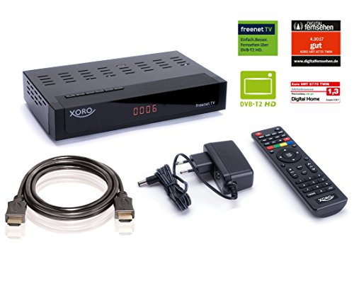 Xoro HRT 8770 Kit by SATCHEF - Full HD HEVC TWIN DVB-T/T2 Receiver (H.265, HDTV, HDMI, kartenloses Irdeto-Zugangssystem für freenet TV, HD-Twin-Tuner, Mediaplayer, PVR Ready, USB 2.0, 12V) inkl. HDMI-Kabel, schwarz