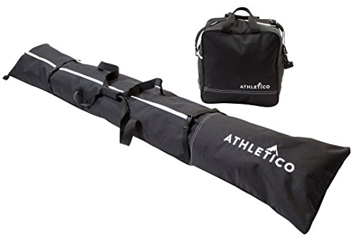 Athletico zweiteiliges Ski und Boot Bag Combo | Store & Transport Ski bis 200cm und Stiefel bis Größe 13| inkl. 1Ski Bag & 1Ski Boot Bag, schwarz