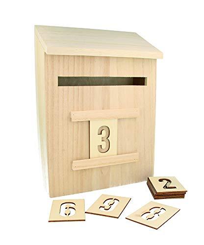 Artemio 14002293Adventskalender zum Dekorieren Briefkasten Holz 20x 9,5x 28cm