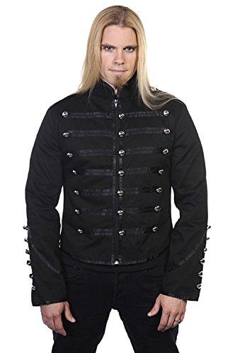 Giacca nera, stile militare con borchie argentate Banned gotico nero Small