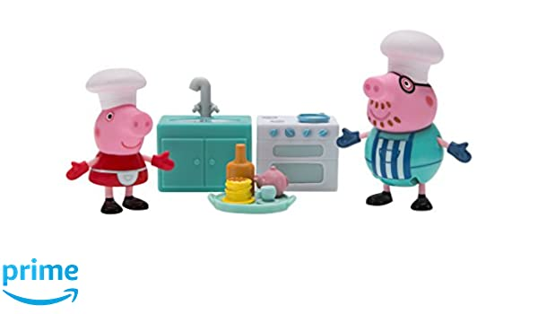 Peppa Pig Peppa/'s Messy Kitchen Playset With DADDY PIG AND PEPPA FIGURES