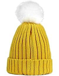 Sunonip Cappello in Pelliccia Cappello Invernale Cappelli per Bambini  Skullies Berretti Bambino Caldo Cappelli Elasticità Maglia d81682f7e9e2