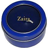 Candela en caja de metal con tapadera plástica con nombre grabado: Zaira (nombre de pila/apellido/apodo)