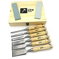 Juego de cinceles de alta calidad de Zite Tools para carpintería - 6 cinceles y 2 piedras de afilar - diferentes tamaños - incluyendo caja de almacenamiento chic