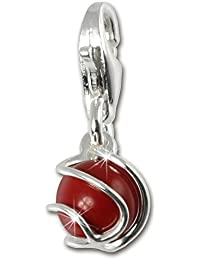 SilberDream 925 Sterling Silber Charm Kugel Koralle rot Charms Anhänger für Armband Kette oder Ohrring FC250R