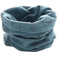 Moonuy Moda Nuevo Otoño Invierno Niñas Niñas Baby Cute Planeta Patrón Bufanda Algodón O Anillo Cuello Bufandas Cuello caliente de 0 a 3 años de edad (Azul)