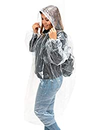 XAIN & GRAIN - Regenponcho (6er Pack) - Unisex, Transparent - wasserdichter Einweg Regenponcho - Regencape mit Kapuze - durchsichtiger Regenmantel