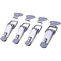euhuton Spannverschluss mit Metallfeder, 4Stück, Edelstahl, für Kisten, Koffer, Silber
