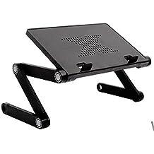Natamo - Vassoio da letto pieghevole, in alluminio leggero, colore: nero, adatto per computer, NO Mouse Pad