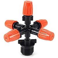 Exquisite Boquilla de Pulverización Ajustable de 5 Cabezas para Invernadero, Adaptador de aspersor automático para riego de Jardín