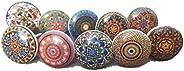 مجموعة من 20 من Ajuny متعددة الألوان خمر نظرة زهرة السيراميك مقابض الباب خزانة درج خزانة خزانة خزانة خزانة سحب