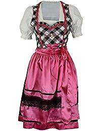 Dirndl 3-teilig Trachten Oktoberfest-Dirndl schwarz-pink 3-teilig midi LB-64