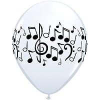Music/Disco/Rock Roll & Theme Set di 5 palloncini in lattice, motivo: note musicali, colore: nero/bianco
