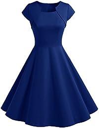 578974f44e3 HomRain Damen 50er Vintage Retro Kleid Party Kurzarm Rockabilly Cocktail  Abendkleider