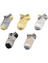 Sereney Calcetines 100% Algodón Lindo Dibujo de Animal Precioso Calcetines Lindo Patrón para Niños Niñas 2-11 Años, Pack de 5 Pares