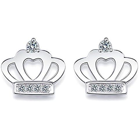 SaySure–Real 925Plata de ley pendientes de corona imperial, Mujer, B