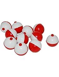 "jshanmei® 25Pack Abs duro snap-on flotadores Pesca Tackle rojo y blanco botón flotador Bobbers size-1inch, 1.5inch 1,5, 1,27cm), 1"""