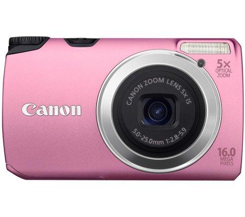 Canon PowerShot A3300 IS Digitalkamera (16 Megapixel, 5-fach opt, Zoom, 7,6 cm (3 Zoll) Display, bildstabilisiert) pink