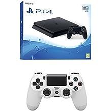 PlayStation 4 Slim (PS4) - Consola de 500 GB + DualShock 4 Glacier White V2 adicional