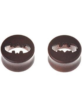 Ipink Ohr-Plug aus Holz, Tunnel, mit hohlem Batman-Logo, Paar, 00Gauge,30mm