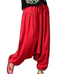 Aivtalk - Pantalones de Pernera Ancha Bombacho Pantalones Holgados Harem para Mujeres Yoga Pilates Fitness Vida Cotidiana Casual Simple Cinturón Ajustable Elástico - Azul Rosa Rojo Marrón - Grueso