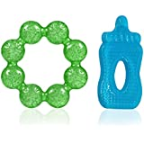 AASA Teeth Growing Silicone Soother Baby Teether For Kids, New Born Baby Gift Set, Multicolor, Set Of 2Pcs, 10 Grams, Pack Of 1
