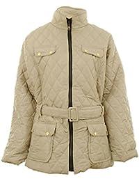 Dingoplus Frauen Diamant gesteppte ausgesetzt Reißverschluss mit Gürtel Damen-Jacken-Mantel