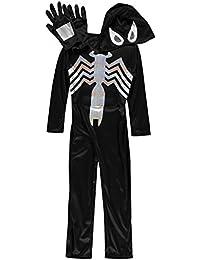 Kids Spiderman Suit 3 Pieces Jumpsuit Gloves Cap Long Sleeve 5-6 Yrs Black