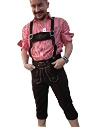 Trachtenhosen Lederhosen Herren Hosen Braun /Dark Echt leder Velour Hochzeit Business Freizeit Oktoberfest