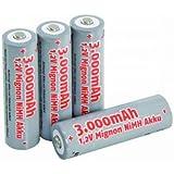 Mignon-Akku McFun 1,2V 3000mAh Typ AA NiMH Batterie 4er shrink Batterien 300136